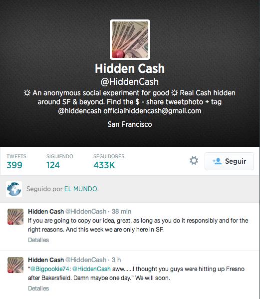 Cuenta de Hidden Cash en Twitter (@HiddenCash)