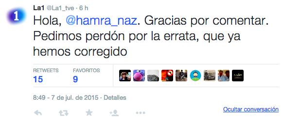 El tuit corregido y las disculpas emitidas