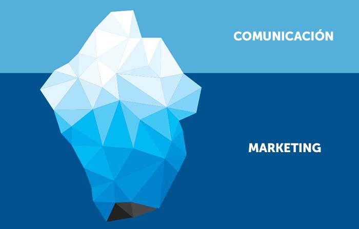 Diferencia entre marketing y comunicación: Teoría del iceberg
