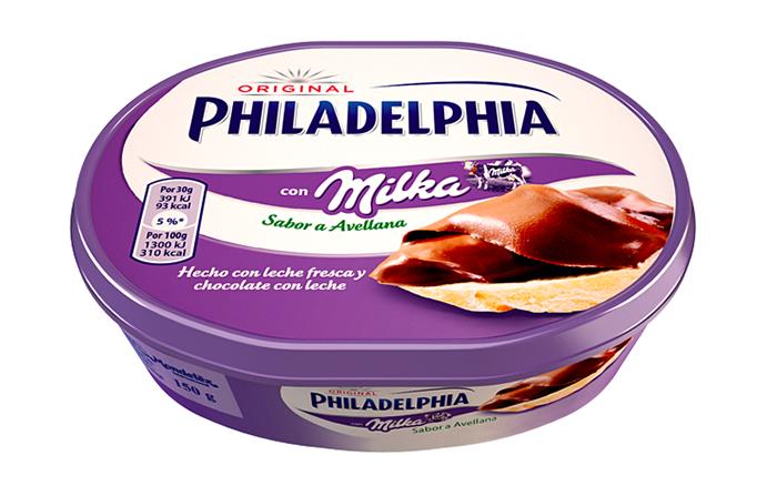 Ejemplos de cobranding entre marcas: Philadelphia y Milka
