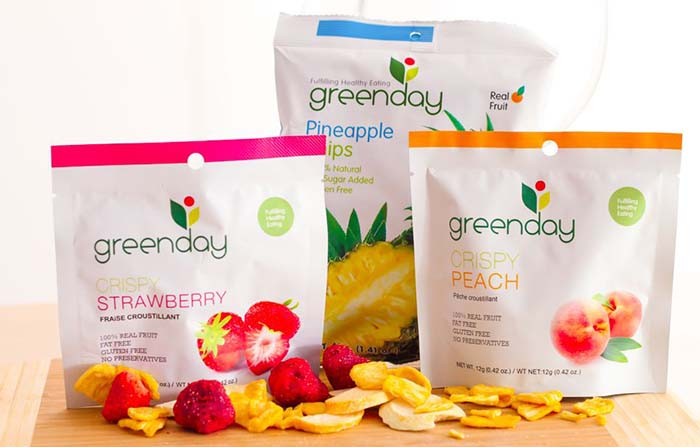Productos singulares: Greenday, snacks saludables de frutas y hortalizas