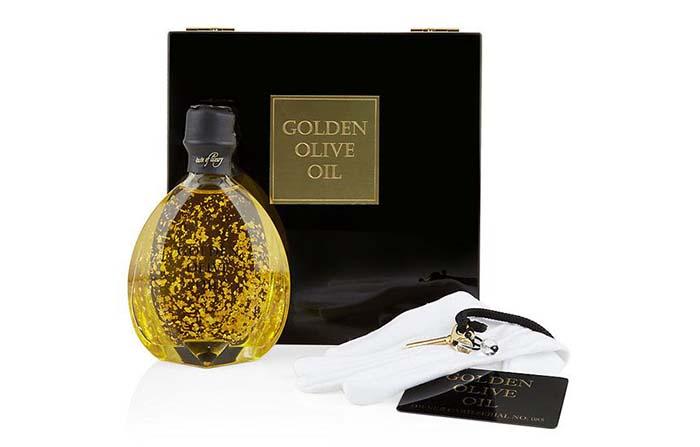 Productos singulares: Golden Olive Oil, AOVE con copos de oro