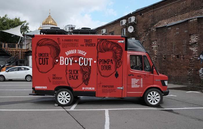 Boy Cut Barber Truck, una barbería itinerante en Moscú