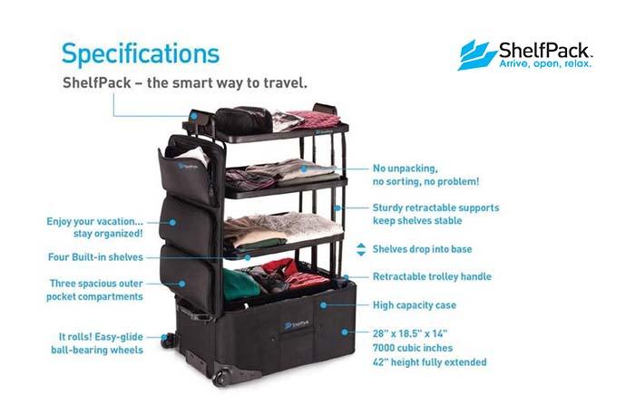 ShelfPack, la funcional maleta que contiene estantes plegables